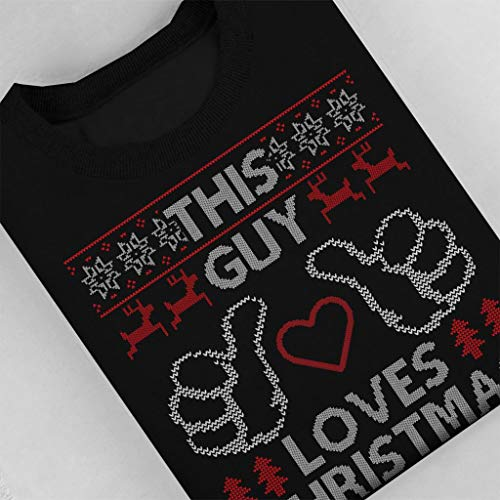 This Sweatshirt Christmas Black Women's Loves Pattern Guy Knit qR1wpH