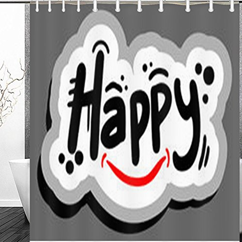 GisRuRu Decor Shower Curtains Happy Graffiti Message Holidays Signs Symbols Cheer Word Cloud Design Polyester Fabric Waterproof 60 x 72 Inches Bath Bathroom Curtain