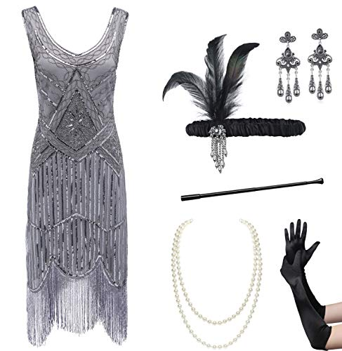 Coucoland Womens 1920s Flapper Sequin Beads Dress with Roaring 20s Gatsby Accessories Set for Party (Black & Gray, L)]()
