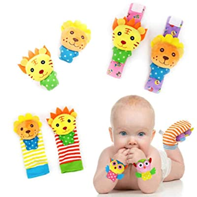 Baby Wrist Rattle and Foot Finder, Early Development Plush Animal Toy Socks for 3 to 12 Month Old Babies - Set of 4pc: Clothing