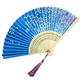 Panda Superstore Aya Silk Folding Fan Handheld Folding Fan Chinese/Japanese Silk Handheld Fan