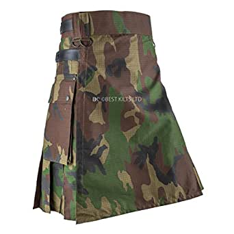 Falda escocesa de camuflaje para hombre, ejército woodland ...