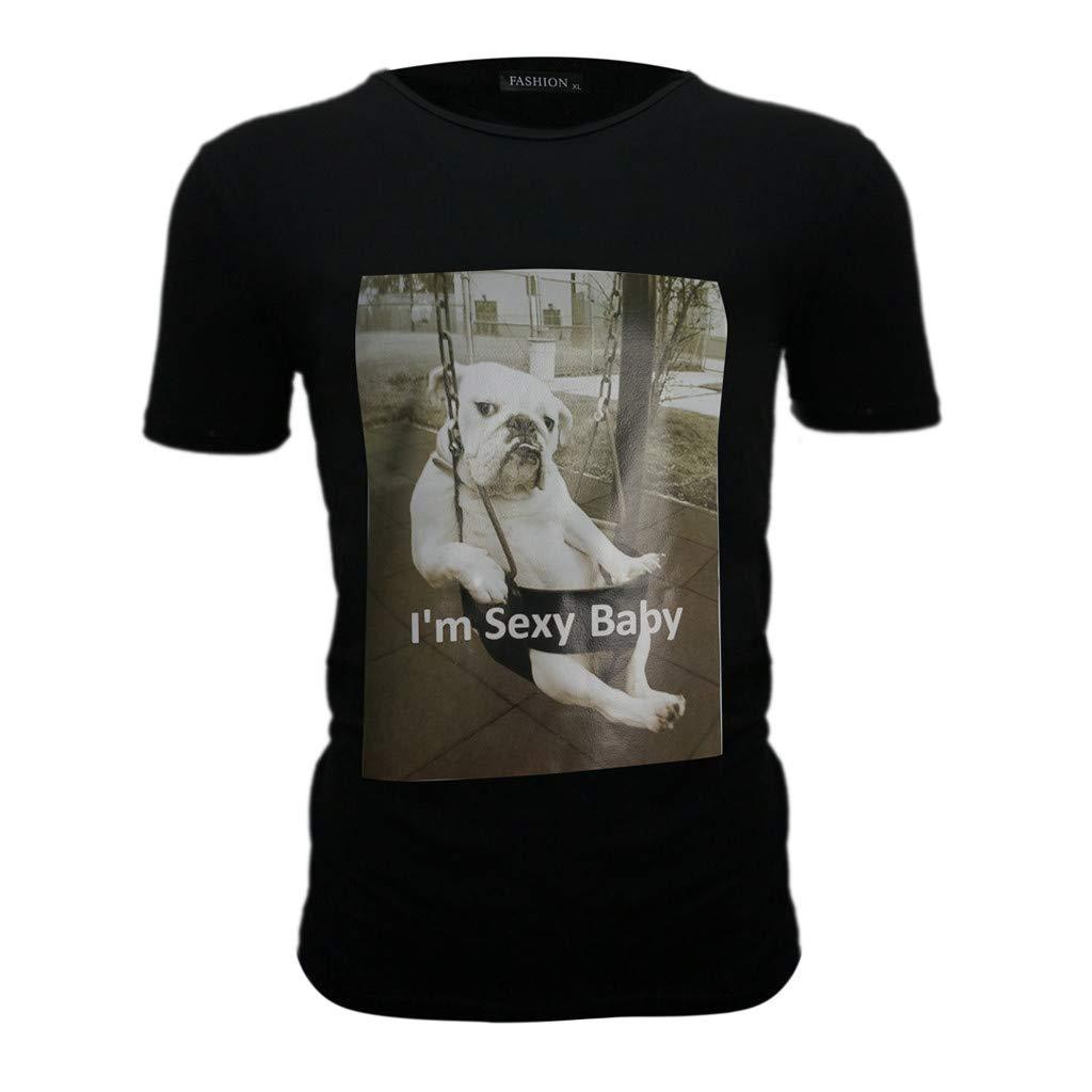 Mens Blouse Summer T-Shirt Slim Fit Print Top Short Sleeved Causal Tee