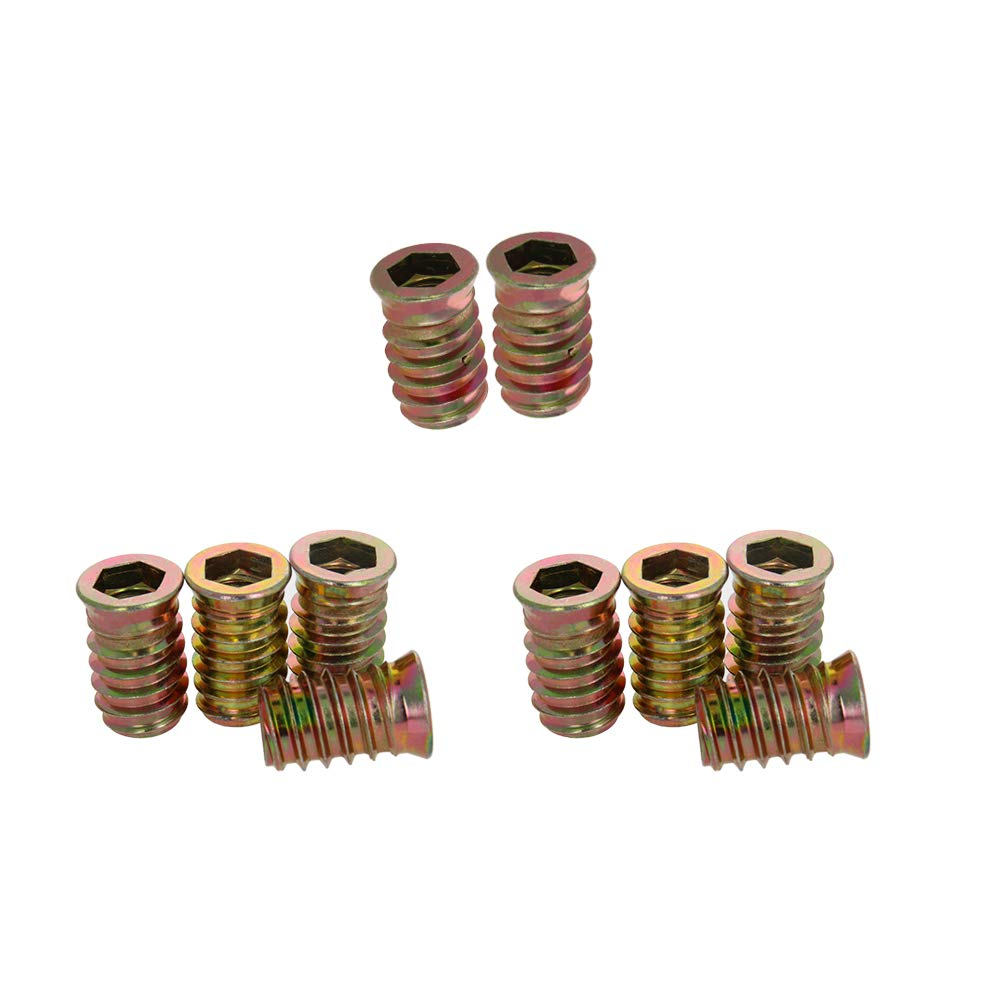 MroMax 50Pcs M10x20mm Knurled Threaded Insert Embedment Nuts Embed Parts Pressed Fit Carbon Steel for 3D Prints
