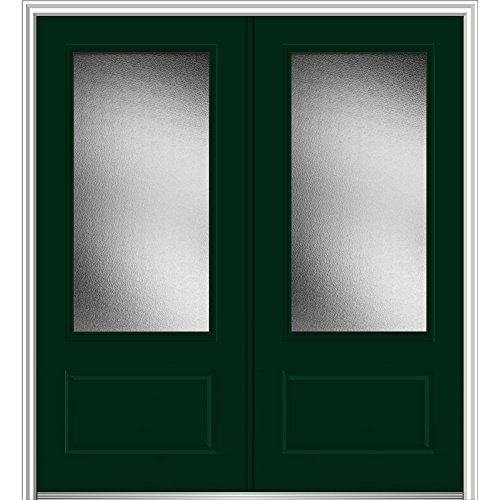 National Door Z0343418L Left Hand In-Swing Exterior Prehung Door, Micro Granite, 3/4 Lite, 1-Panel, Fiberglass, Smooth, 72'', 80'' Height, Hunter Green by National Door Company