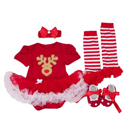 DQdq Baby Girls' Tutu Dress My First Christmas Reindeer Costume 4PCS Clothing Set (Reindeer Baby Costume)