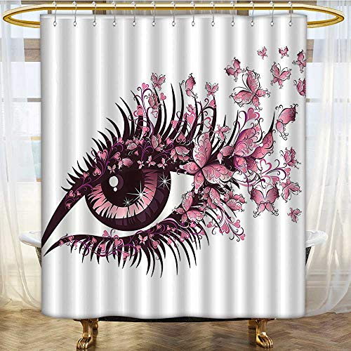 Mikihome Shower Curtain Customized Female Eye with Butterflies Eyelashes Mascara Stare Makeup Party Celebration Bathroom Set with Hooks W54 x H78 inch ()