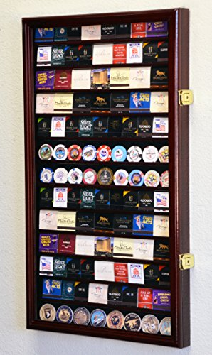 (117 Matches Matchbook Display Case Cabinet Holder Rack Holds up to 117 Match Book or Boxes, 98% UV, Lockable (Cherry Finish))