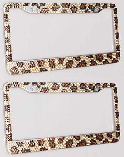 Carfond Pure Handmade Waterproof 7 Row Bling Bling Rhinestones Metal Stainless Steel License Plate Frame 2 Holes Bonus Matching Screws Caps (leopard print)- 2 PACK