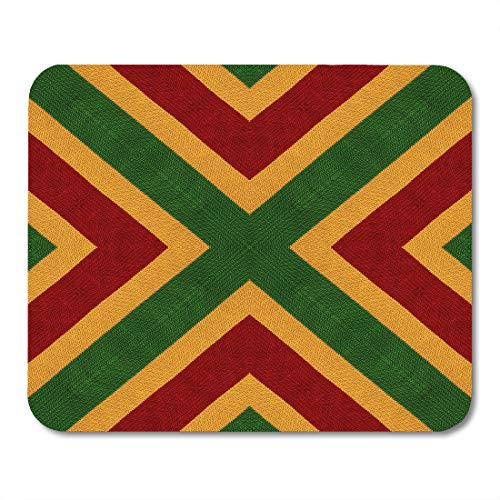 Emvency Mouse Pads Reggae Colors Flag Crochet Knitted Top View Collage Mirror Reflection Kaleidoscope Montage for Plaid Mouse pad Mats 9.5