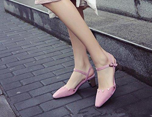 Le zapatos nuevos Mujeres Baotou palabra tacón alto hebilla zapatos casual rosa