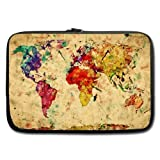 Retro Style World Map Laptop Sleeve Case for Acer Aspire ASUS Dell Inspiron Toshiba Samsung HP Chromebook Lenovo 11-11.6 Inch (Two Sides)