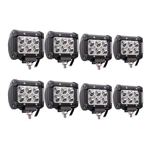 Led Pods, Senlips 8x18W Cree Leds Spot Light Led Fog Lights Offroad Led Light Bar IP 67 Waterproof for Off-road Vehicle, ATV, SUV, UTV, 4WD, Jeep, Boat- Black