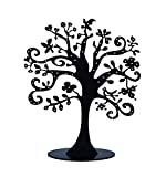 ZEYU HOME Jewelry Tree Stand Metal Jewelry Organizer Holder Display for Earrings Bracelets Necklaces (Black)