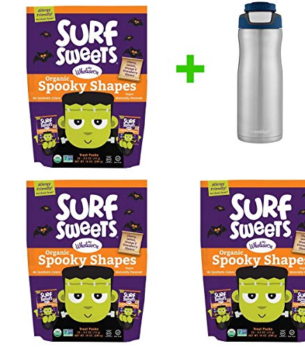 Surf Sweets Organic Halloween Spooky Shapes - 20ct/10oz(3 PACK)+ Contigo Autoseal Chill Stainless Steel Hydration Bottle 24oz(Combo Offer) ()