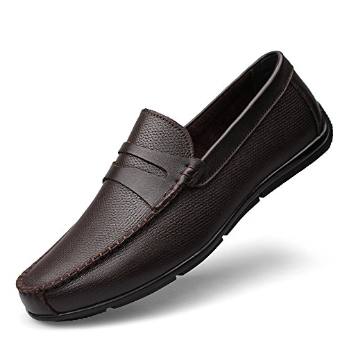Leisure Gomma in Marrone Strap Decor Guida Slip da Penny Scarpe Cricket Suola Mocassini Mocassini on da Uomo Morbida q4n07