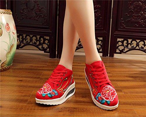 Chaussures Fond brodé Florales épais Tissu Baskets Chaussures Forme Printemps Mode Plate Toner Voyager Femmes Fleurs Rx5Oq6Rn