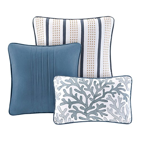 Madison Park Bayside Coverlet Set Blue Twin/Twin XL Coastal Print - Includes 1 Coverlet, 3 Decorative Pillows, 2 Shams ()