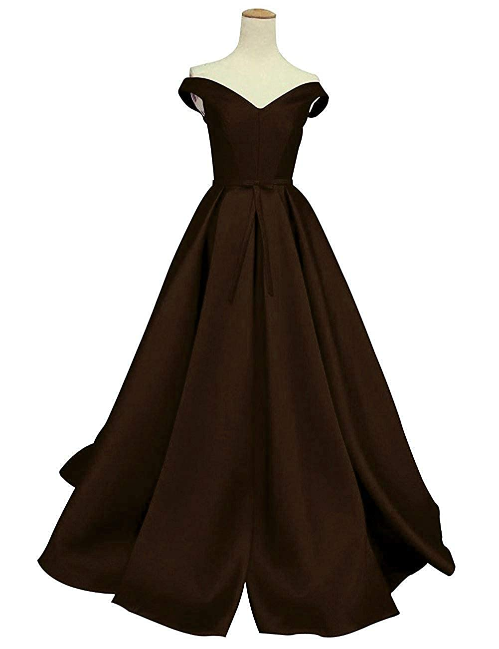 Chocolate DreamSkirts Women's Off The Shoulder ALine Evening Ball Gowns with Bow