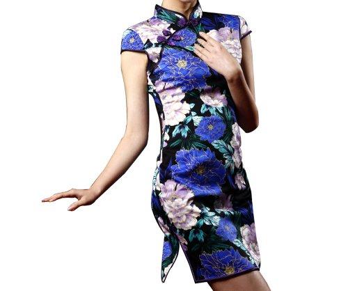 Chinesisch Blau Cocktailkleid Chic FREIE Asiatische Qipao Erlesenes Kleid 114 FRACHT Mode Cheongsam PUrgqP