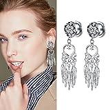 YIDULA 1 Pair Fashion Alloy Dreamer Pendant Ear Piercings Jewelry Stainless Steel Ear Plugs Pendants Tunnels Gauges Piercing (9/16-14mm)