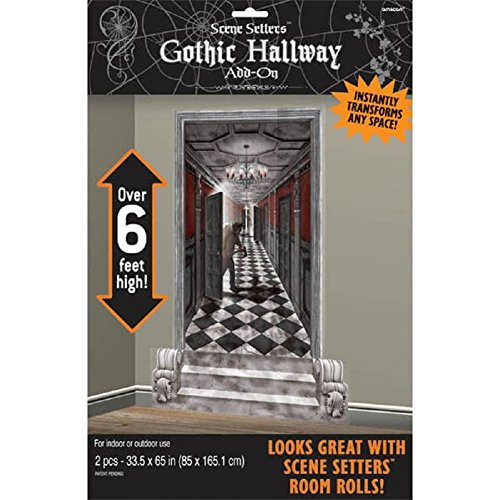 Gothic Mansion Long Hallway Scene Setters | Halloween Decorating Kit]()
