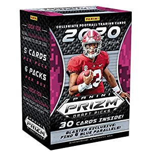 2020 Panini Prizm Draft Picks Football NFL Trading Cards Blaster Box- 6 Blaster Exclusive BLUE Parallels – 30 Cards – Find First Prizm JOE BURROW Rookie Cards!