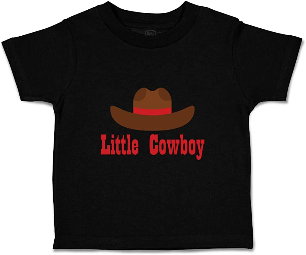 Custom Baby /& Toddler T-Shirt Little Cowboy Brown Hat Cotton Boy Girl Clothes
