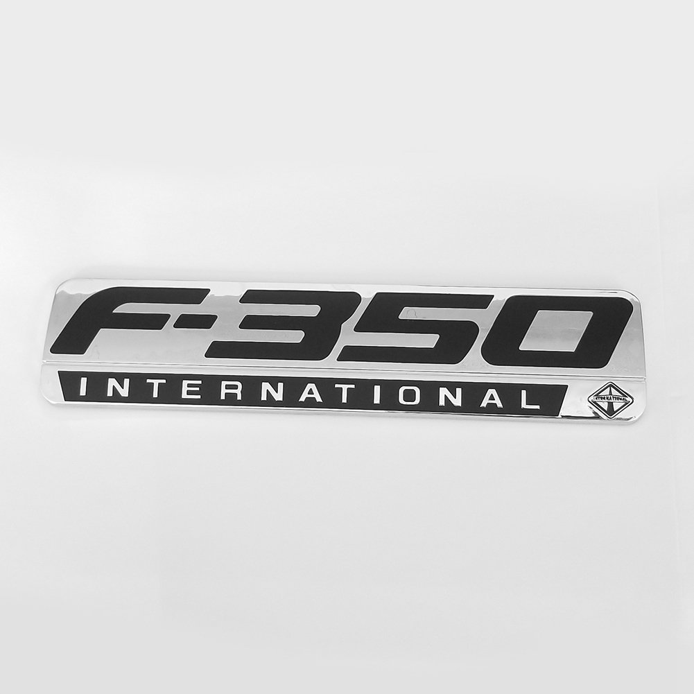 2pcs OEM F-350 International Side Fender Emblems Badge 3D Logo Replacement for F350 Pickup Chrome Black