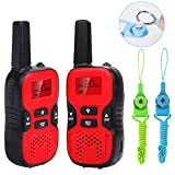 Waitiee Durable kids Walkie Talkies for children 22 Channel 2 mile Handheld Portable 2 Way Radio Toy christmas Gifts Outdoor Camping Hiking (Red 1 Pair)