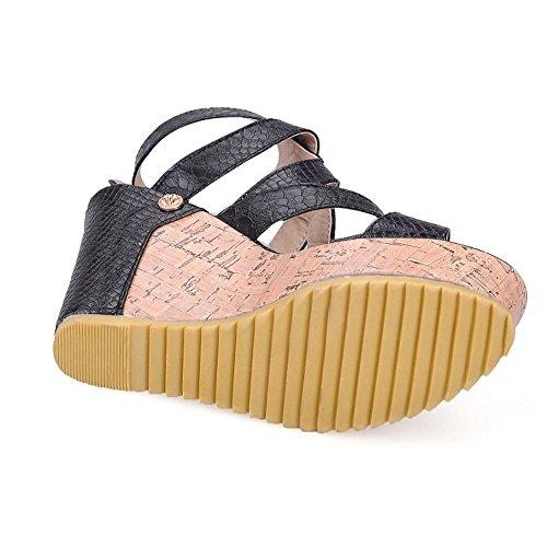 TAOFFEN Femmes Compensées Talons Chaussures Black Sandales Mode qpSqwy4Rr