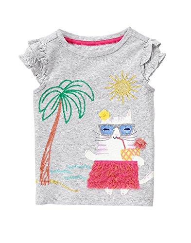 Gymboree Baby Toddler Girls' Hula Cat Graphic Tee, Light Heather Grey, 4T