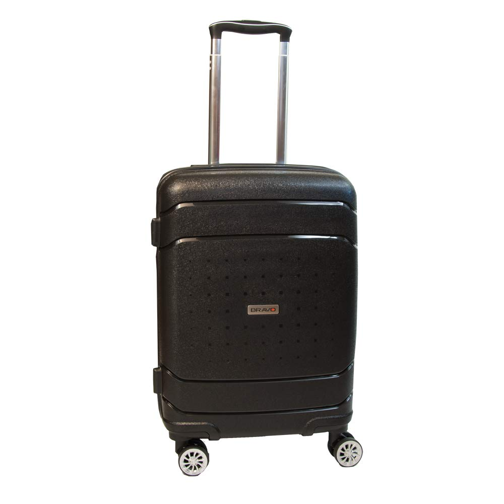 Bravo Infinity Hardside Spinner Luggage 22 Inch Black Carry On Expandable Luggage With TSA Lock