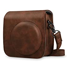 Fintie Protective Case for Fujifilm Instax Mini 8 Mini 8+ Mini 9 Instant Camera - Premium Vegan Leather Bag Cover with Removable Strap, Vintage Brown