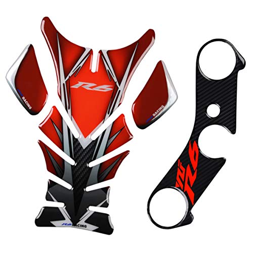 (REVSOSTAR Printed Tank pad, Motorcycle Tank Protector, Tank Pad Sticker, Top Clamp Triple Tree Pad Fit For Yzf R6 (2Pcs Per Set))