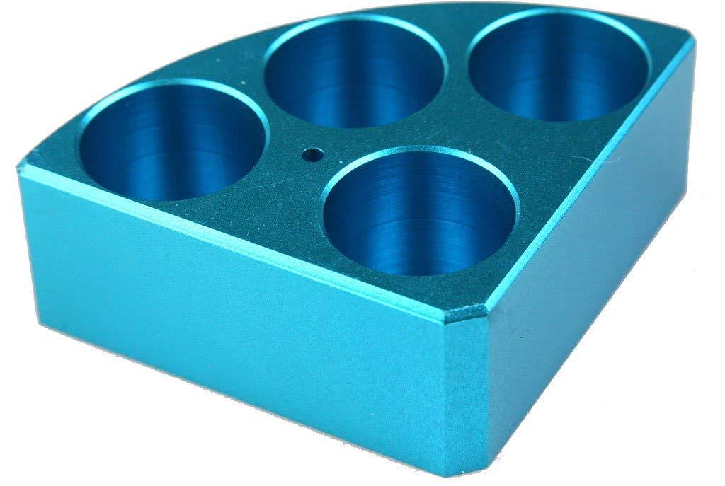 Scilogex 18900004 Quarter Reaction Block for 30 mL Reaction Vessel 28 mmDia, 30 mmHeight, 4 Holes, Blue