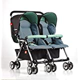 Twin Baby Strollers, Lightweight Folding Flat Recoil Shock Baby Double Stroller Light Travel with 5-Point Safety Harness Multi-Position Reclining Seat Large Storage Basket