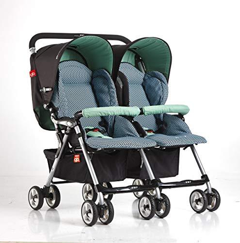 XUE Cochecitos de bebé Gemelos, Ligero Plegable Plano Retroceso Choque bebé Doble Cochecito luz Viaje con 5 Puntos arnés...