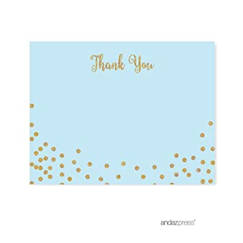 Andaz Press Light Blue Gold Glitter Boys 1st Birthday Party Collection Blank Thank You Notes