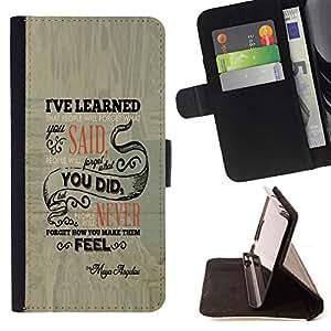 BullDog Case - FOR/HTC One M7 / - / PEOPLE WILL FORGET /- Monedero de cuero de la PU Llevar cubierta de la caja con el ID Credit Card Slots Flip funda de cuer