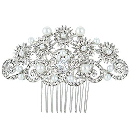 Ever Faith - Plaqué Argent Cristal Autrichien Perle Artificielle Fleur mariage Peignes Transparent N04443-1
