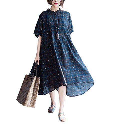 パンフレット手がかり罪悪感summer koo 大きいサイズコットンリネンドレスチェック シャツワンピース 綿麻 aライン 大裾 ふんわり女性の服妊娠服