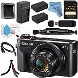 Canon PowerShot G7 X Mark II Digital Camera 1066C001 + NB-13L Lithium Ion Battery + External Rapid Charger + Sony 128GB SDXC Card + Card Wallet + Card Reader + HDMI Cable + Fibercloth + Tripod Bundle