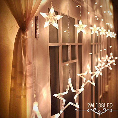 Alanda Star Curtain Lights 12 Stars 138 LEDs Curtain String Lights Stars Christmas Lights Perfect Decoration for Wedding, Christmas, Holiday, Parties and Home (Warm White) (Decorations Porch Outdoor Christmas)