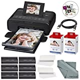 Canon SELPHY CP1200 Wireless Color Compact Photo Printer Bundle W/ 2Pk. Canon KP-108IN Color Ink and Paper Set & USB Printer Cable + FiberTique Cleaning Cloth