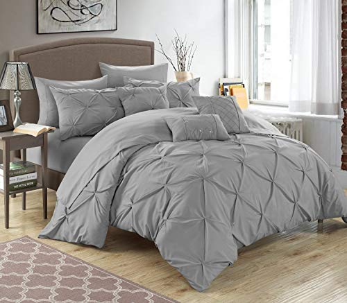 10 Piece Hannah Pinch Pleated, ruffled and pleated complete Queen Bed In a Bag Comforter Set Silver With sheet set