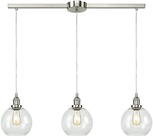 Eul Industrial Vintage Kitchen Island Lighting Clear Glass Globe Pendant Brushed Nickel 3 Lights