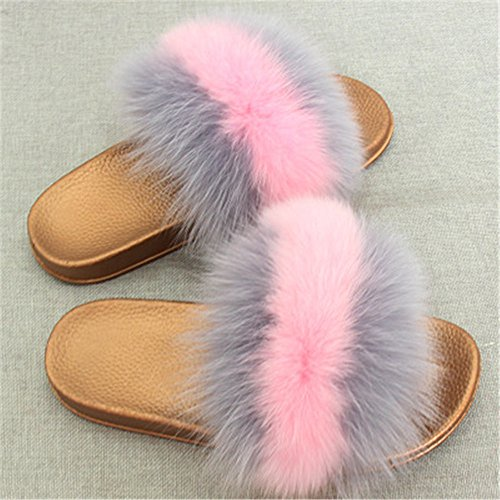 pink Women Real Grey Fox Slippers Girls Flat Slides Summer Soft Glod for Shoes qmfur Fashion Fur ZAqn4gZd