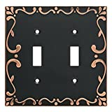 Franklin Brass W35073-VBC-C Classic Lace Double Switch Wall Plate/Switch Plate/Cover with Copper Highlights, Bronze
