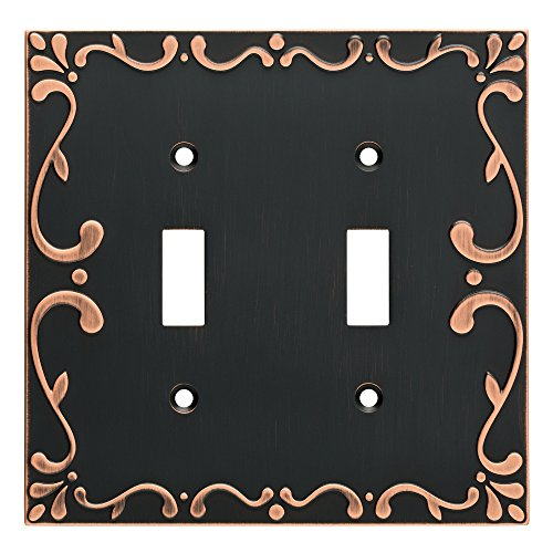 Franklin Brass W35073-VBC-C Classic Lace Double Wall Switch Plate/Cover, Bronze With Copper Highlights